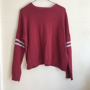 AE Don't Ask Why Red Arm Stripped Sweater